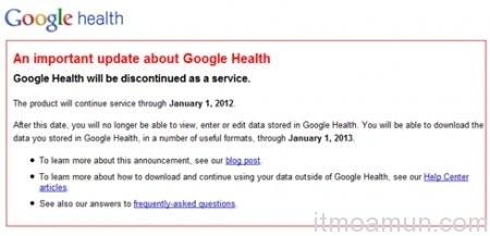 Google ปิดบริการ, Google Health