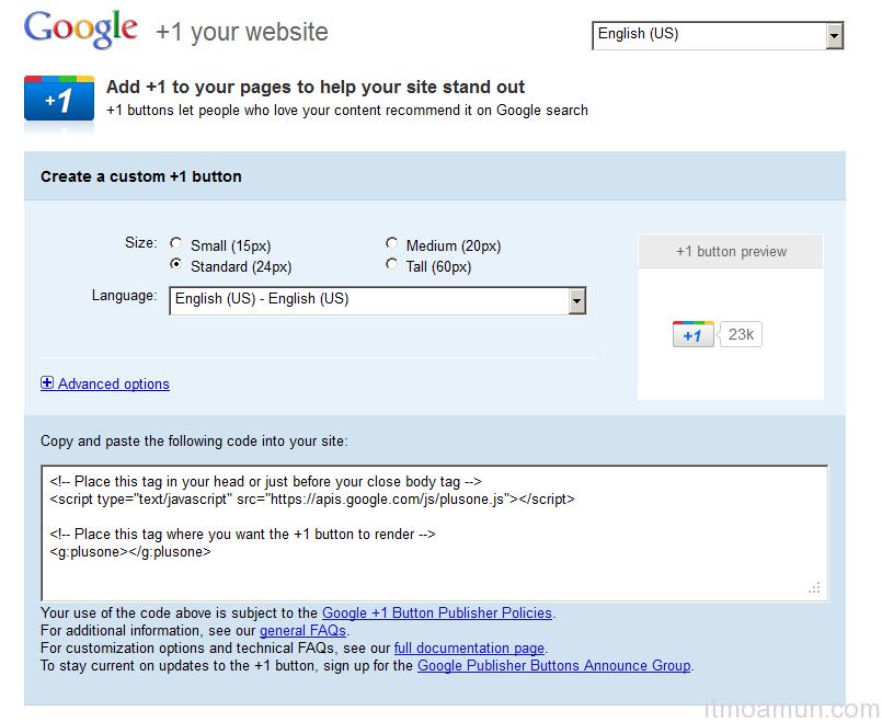 ปุ่ม Google+, ทำปุ่ม Google+ ติดเว็บไซต์