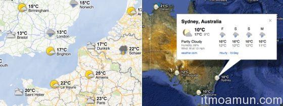Google Maps, Google Maps พยาแกรณ์อากาศ