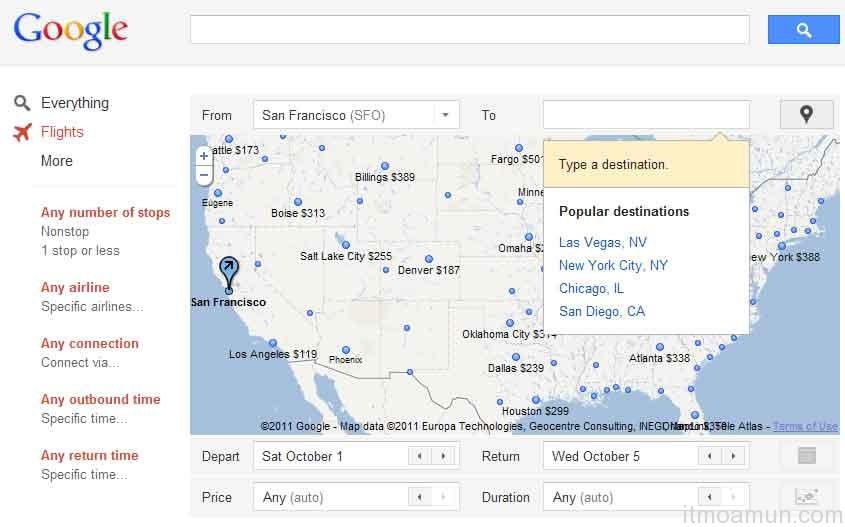 Google, ธุรกิจท่องเที่ยว, Google Flight Search
