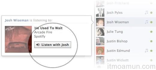Facebook, ฟังเพลงบน Facebook, ชวนเพื่อนฟังเพลง